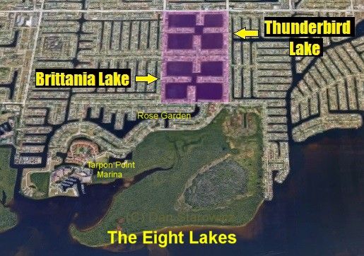 The Eight Lakes in Cape Coral, FL.  Brittania Lake and Thunderbird Lake