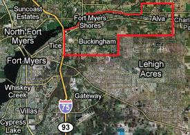 Clicking on this image will display all East Fort Myers, Florida Gulf access listings (includes Buckingham, Fort Myers Shores & Alva)