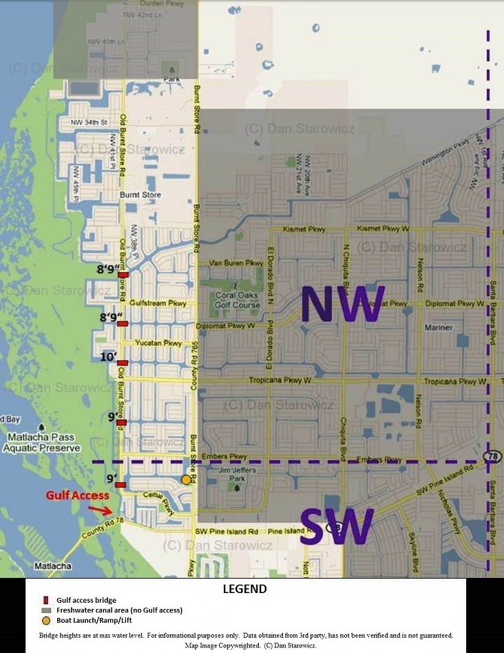 NW Cape Coral bridge heights map
