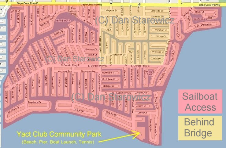 Yacht Club, Cape Coral, Sailboat access locations