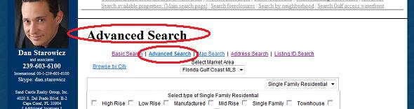 Advanced Search for Cape Coral Gulf Access property