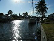 Sailboat access canal in South Cape Coral