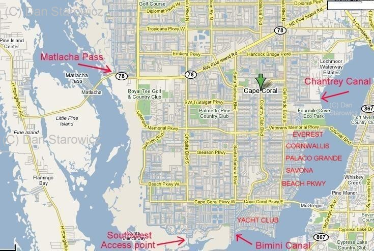 Map of Cape Coral sailboat access neighborhoods and locations