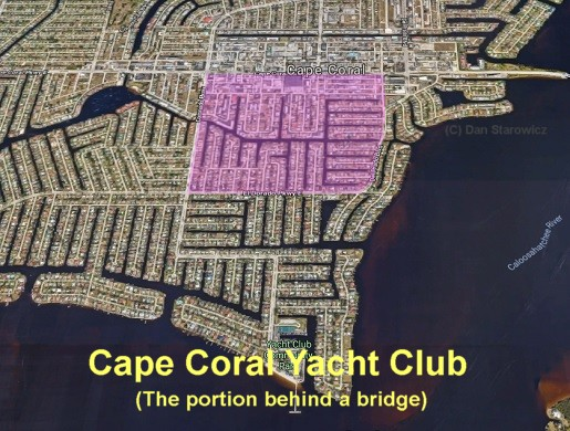 Cape coral yacht club behind bridge