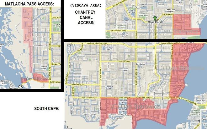 Sailboat access areas of Cape Coral Florida