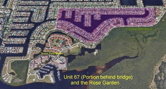 Cape Coral Unit 67 and the Rose Garden behind the bridge gulf access