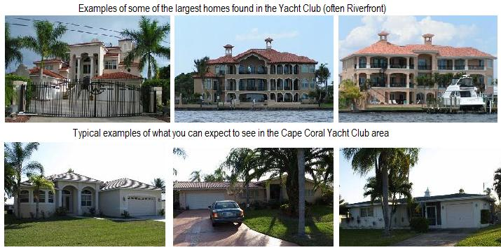 Examples of homes in Cape Coral Yacht Club, courtesy Dan Starowicz, www.TopWaterfrontDeals.com